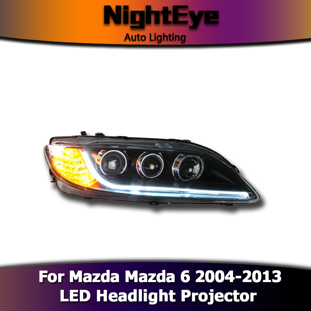 Led Headlights Projector Drl Fog Light With Turn Signal For Mazda 6 2004 2013 Ebay