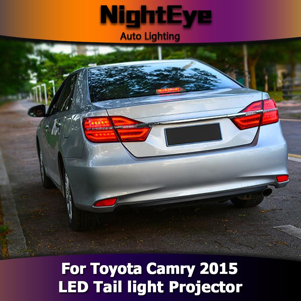 pair car led tail lights brake stop rear lamp set smoke for toyota camry 2015. Black Bedroom Furniture Sets. Home Design Ideas