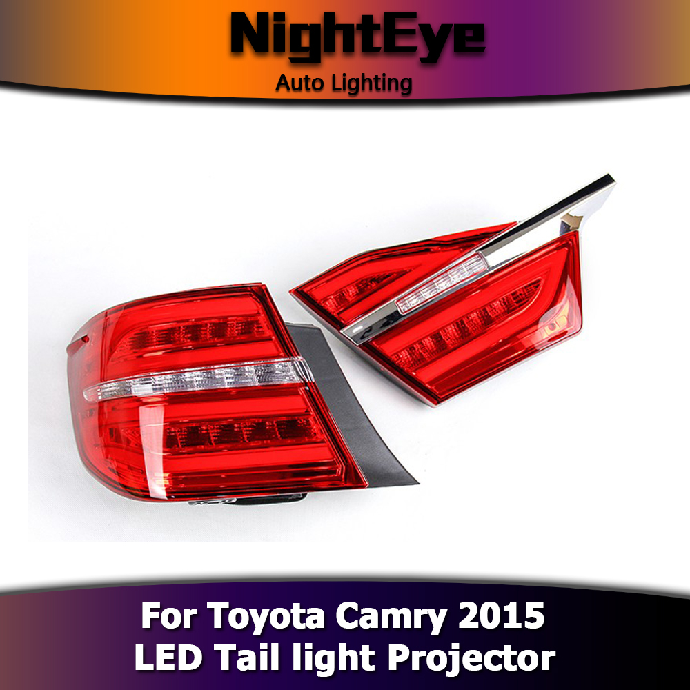 pair car led tail lights brake stop rear lamp set smoke for toyota camry 2015. Black Bedroom Furniture Sets. Home Design Ideas