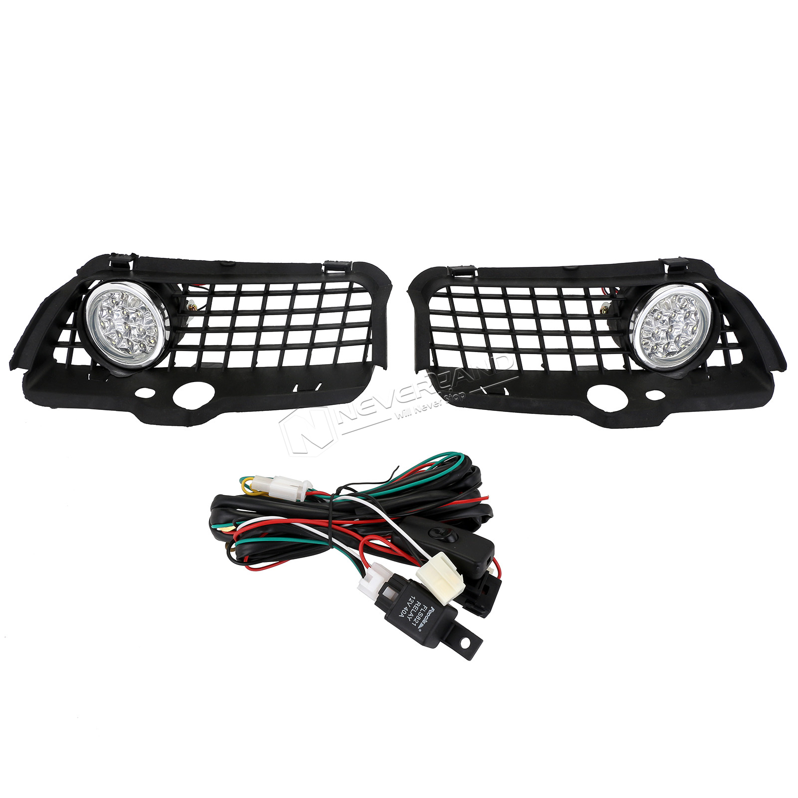 Front Bumper Fog Light Lamp Grille White Led Drl For 1992