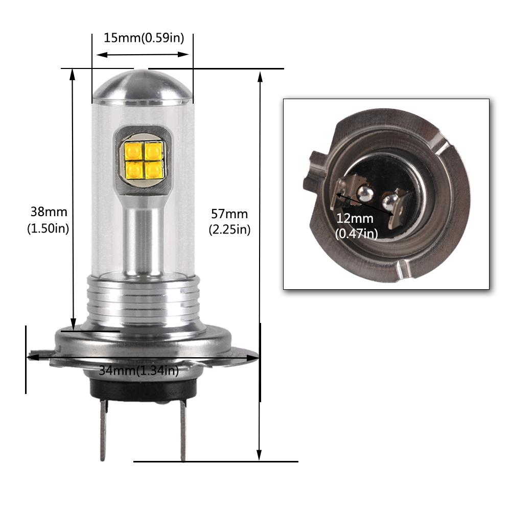 nighteye pair h7 80w led fog tail light bulbs car drl. Black Bedroom Furniture Sets. Home Design Ideas