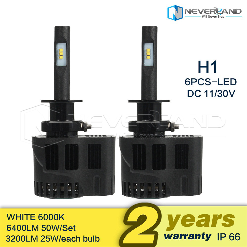 2x 50w led h1 auto scheinwerfer birne kit lampen leuchte 6400lm wei ebay. Black Bedroom Furniture Sets. Home Design Ideas