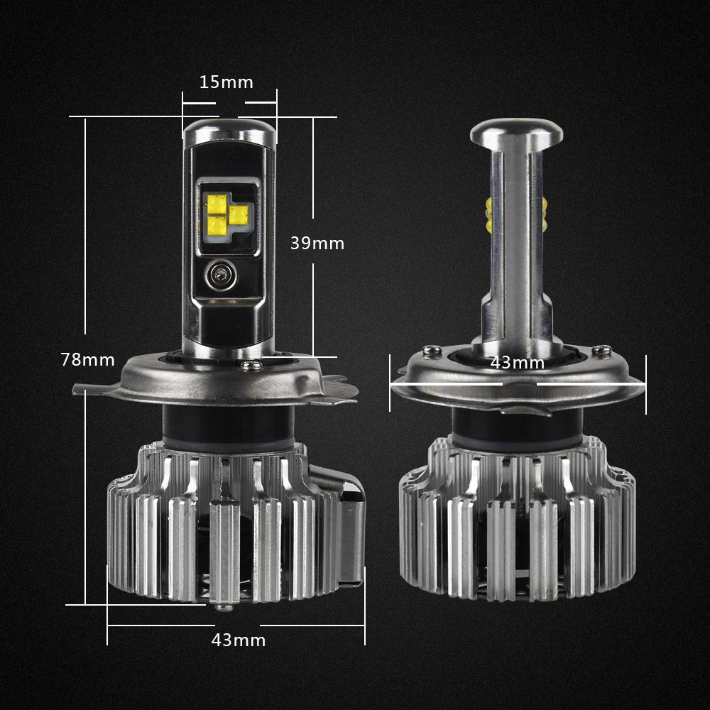 Turbo Universal Headlight Led String: Nighteye 80W 9000LM H4 HB2 9003 LED Headlight Kit Fog