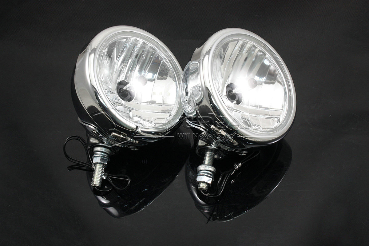 Chrome Universal Motorcycle Spot Fog Lights Auxiliary Lamp