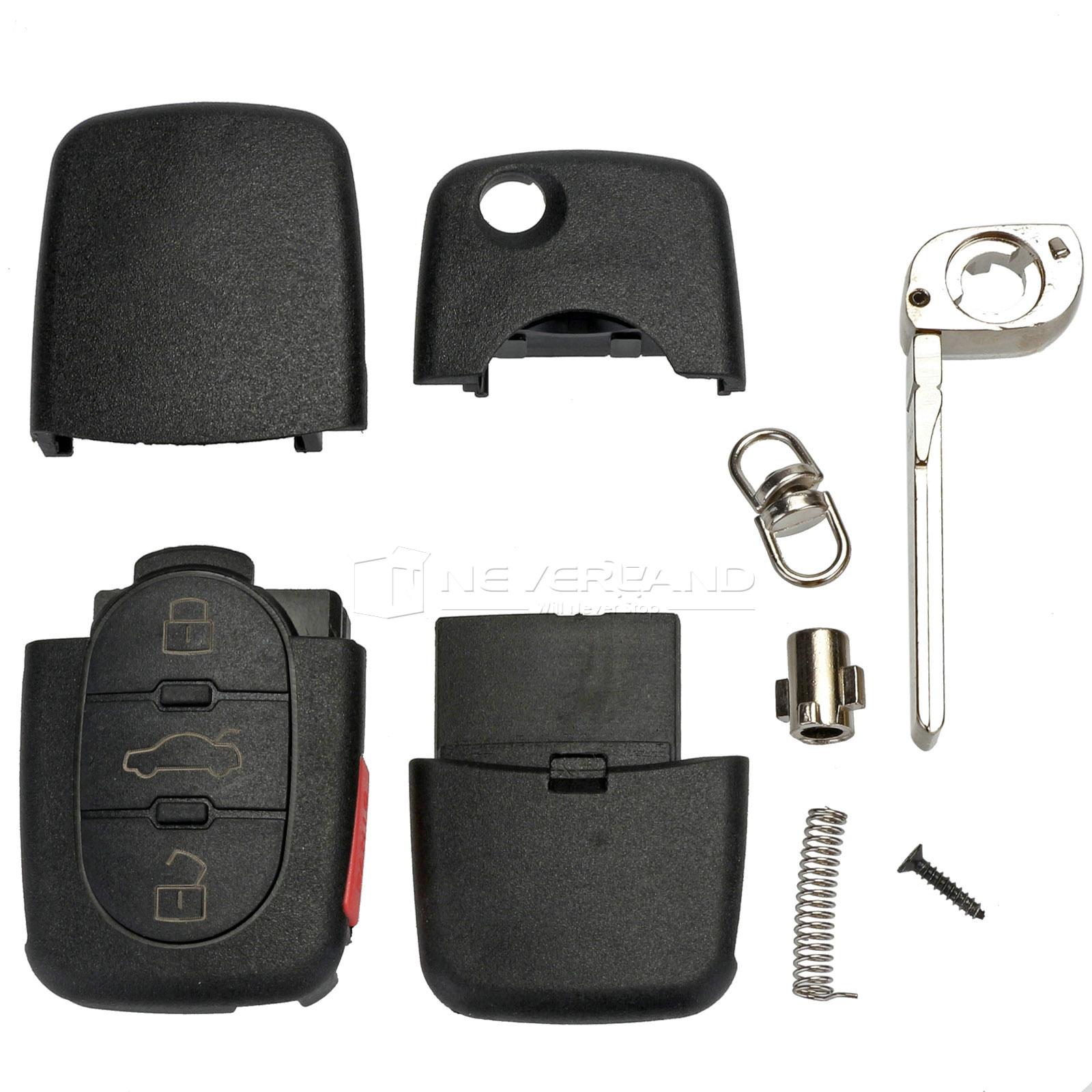 Flip Remote Key Shell Fit For Audi A2 A3 A4 A6 A8 TT Uncut
