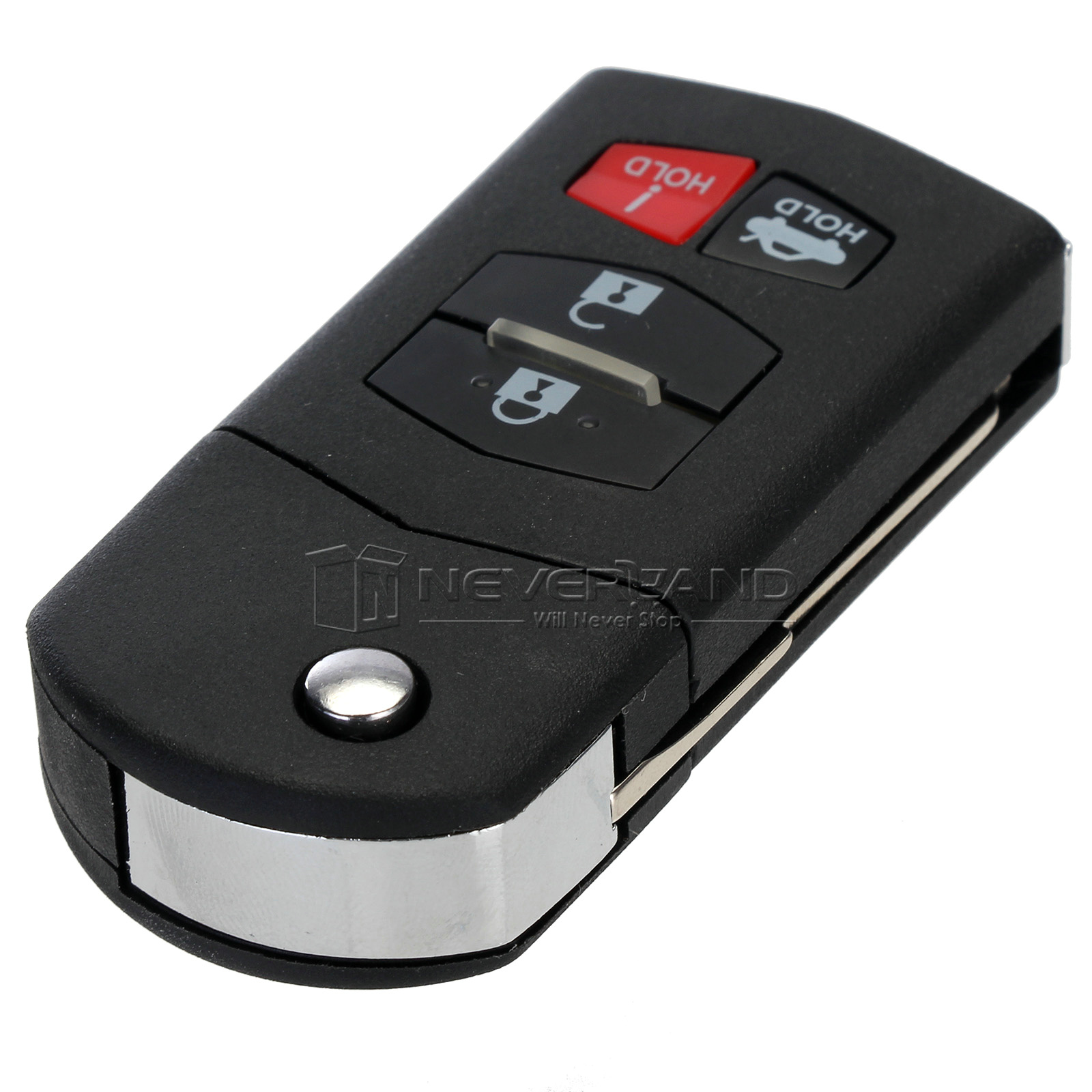 4 Button Remote Flip Key Fob Case Shell Blade For Mazda 3