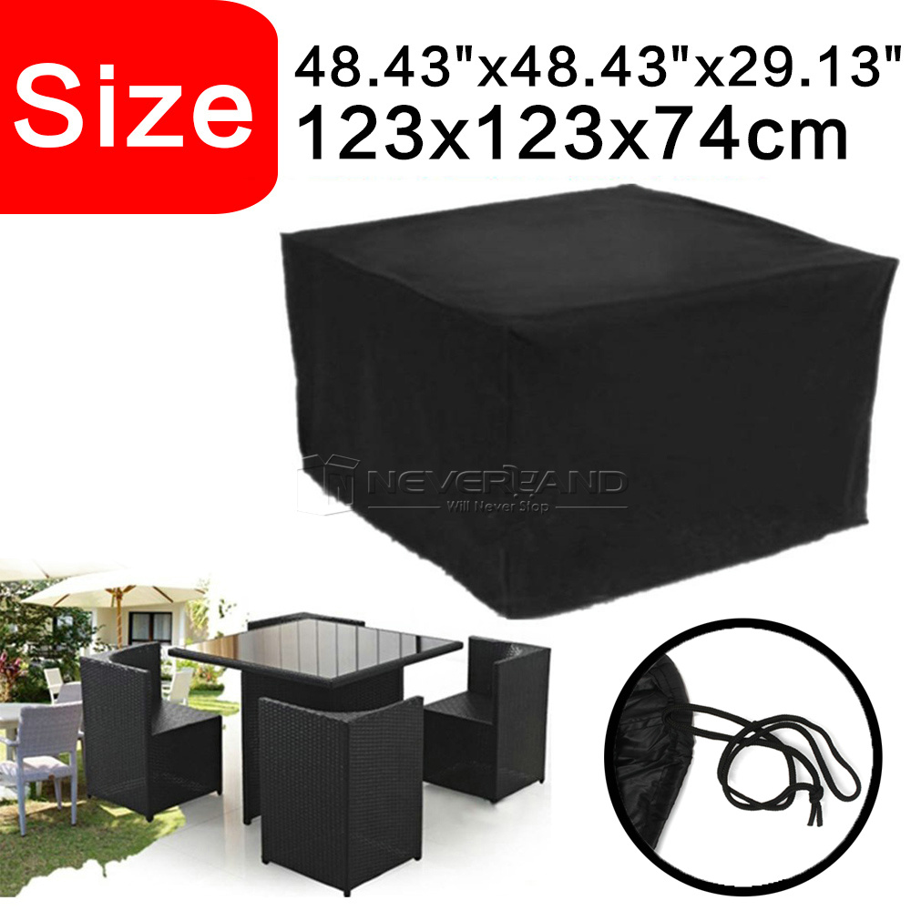 Waterproof Rattan Cube Outdoor Table Garden Patio Furniture Set Cover Protect