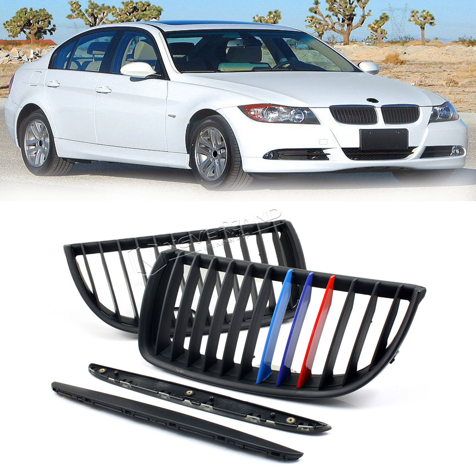 Pair M Color Matte Front Kidney Grilles For 2004-2007 BMW