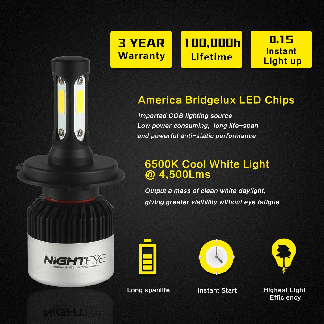 2x 72w 9000lm h4 led voiture ampoule phare conversion lampe feux 6500k ebay. Black Bedroom Furniture Sets. Home Design Ideas